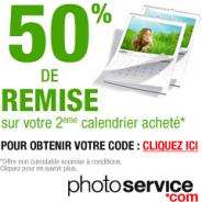 PHOTO SERVICE : Profitez de 50% de réduction sur votre 2ème calendrier mural
