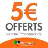 PHOTOWEB : Offre de bienvenue avec 5 euros de remise immédiate