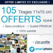 SMARTPHOTO : Offre exceptionnelle avec 105 tirages photo gratuits