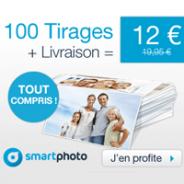SMARTPHOTO : 100 tirages photo PREMIUM pour 12 euros seulement TOUT COMPRIS