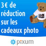 PIXUM : 3 euro de remise sur tous les cadeaux photo