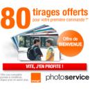 80 tirages offerts pour tout nouveau client Service Photo Orange