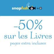 Remise immédiate de 50% sur les livres photo par Snapfish
