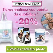 Photocité : 20% de réduction sur des objets photo personnalisés